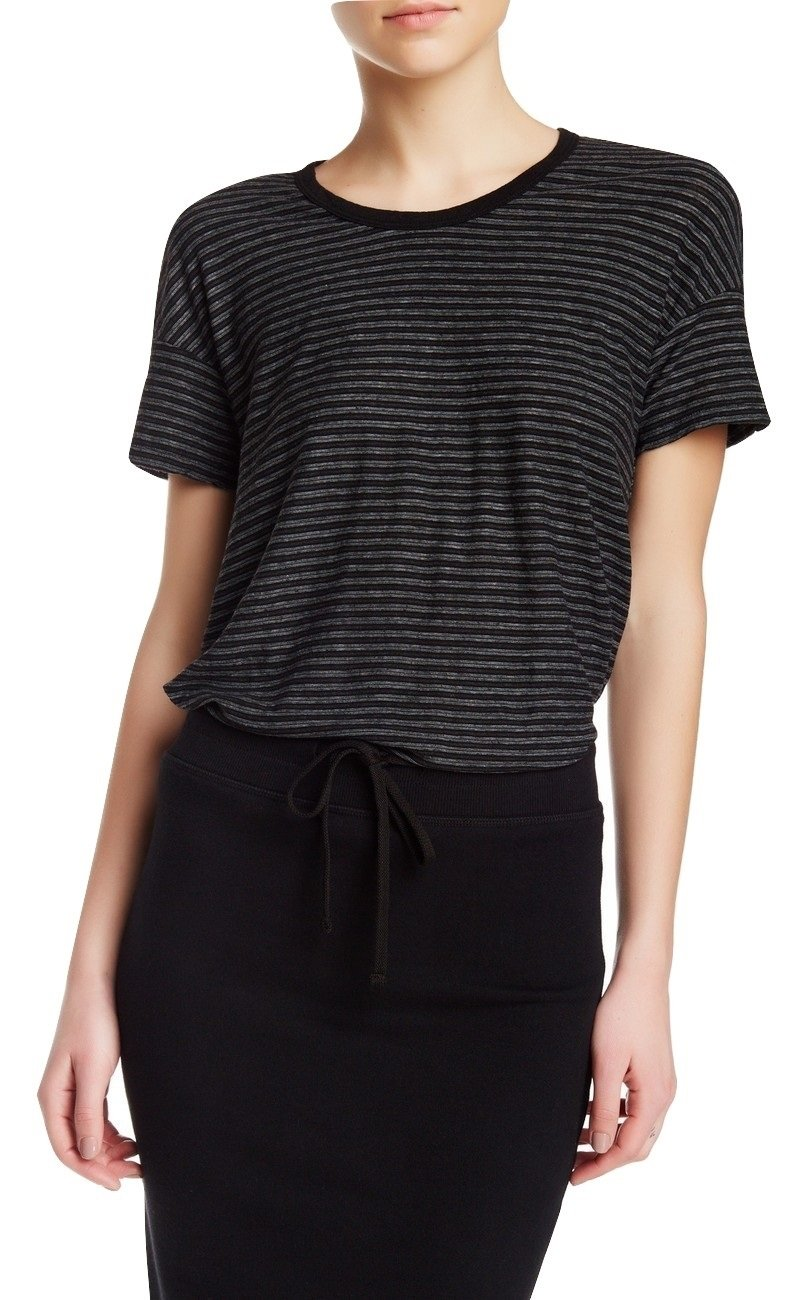 Standard James Perse Women's Split Hem Striped Tee, Black, 3 (Large)