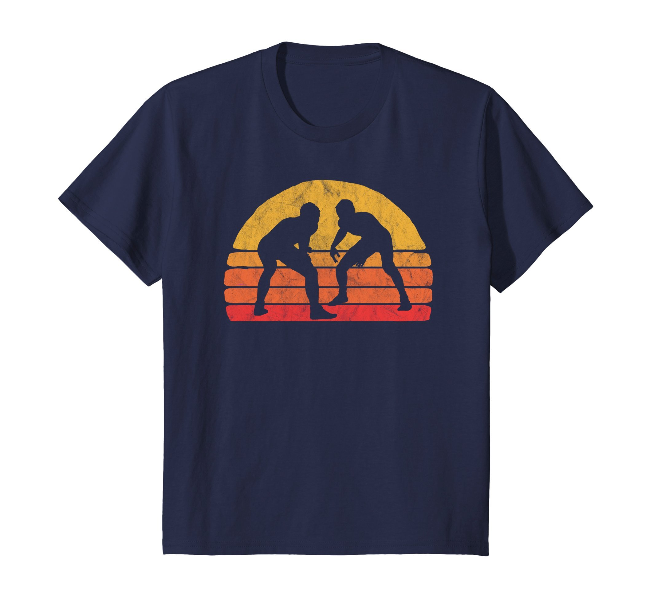 Kids Vintage Wrestling Graphic T-Shirt - Two Wrestlers and Sun 10 Navy by Get To The Mat Wrestle Shirts