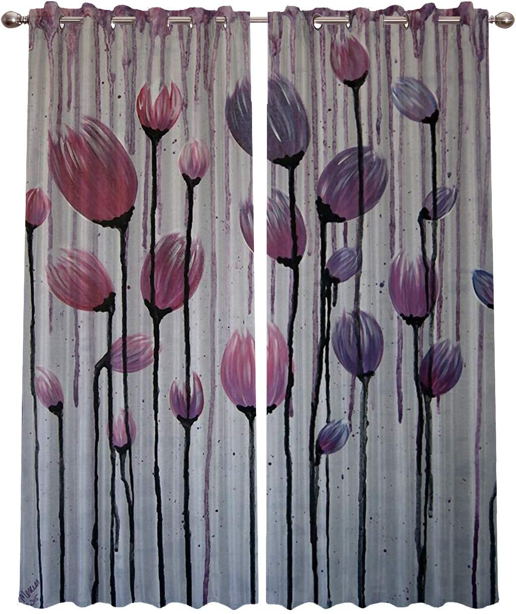 Blackout Curtains Window Treatment Curtain of 2 Panels Abstact Floral Grunge Room Darkening Curtains and Drapes for Living Room Bedroom Decor 52×96 Inch x2 Panels
