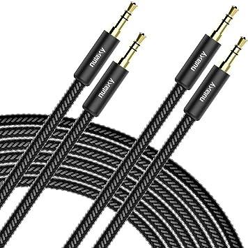Cable Audio Estéreo, Nulaxy [2-Pack] cable jack audio auxiliar de 3,5 mm (4 ft/