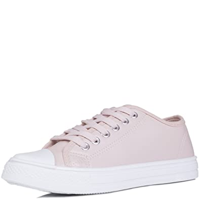 7440dac58 SPY LOVE BUY Never Fear Women's Lace Up Flat Trainers Shoes: Amazon ...