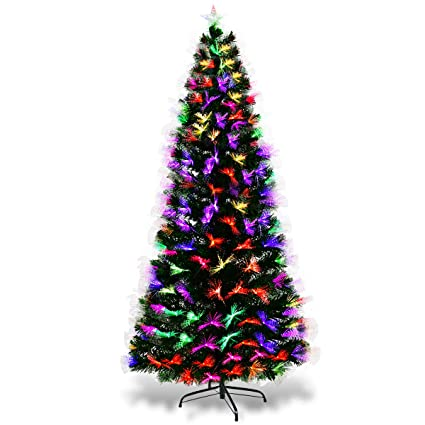 42cedfe06a799 GYMAX 5ft 6ft 7ft Green Fibre Optic Artificial Christmas Tree Multicolor  Led Large Xmas Tree 180cm 210cm Indoor Outdoor (7 FT)  Amazon.co.uk  Kitchen    Home
