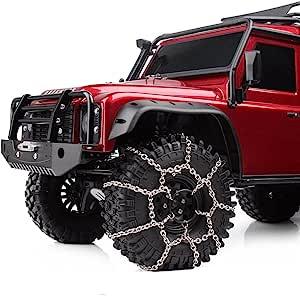 INJORA 120mm 1.9inch Neumáticos Cadena de Nieve para 1/10 RC Rock Crawler Traxxas TRX-4 TRX4 Axial SCX10 90046, Metal, 2 Unids / Set