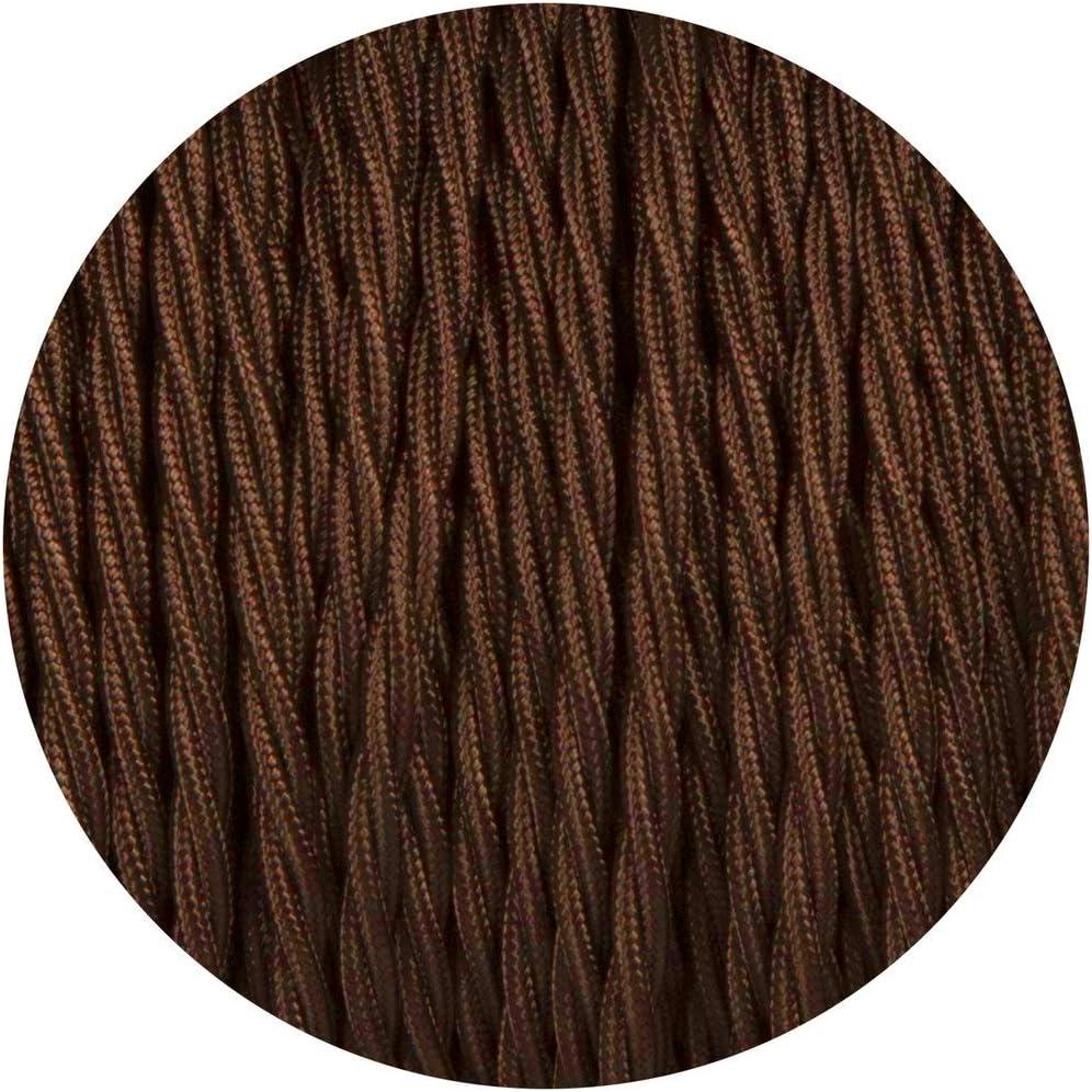 3 n/úcleos Cable para l/ámpara de tela 10 m trenzado de color marr/ón