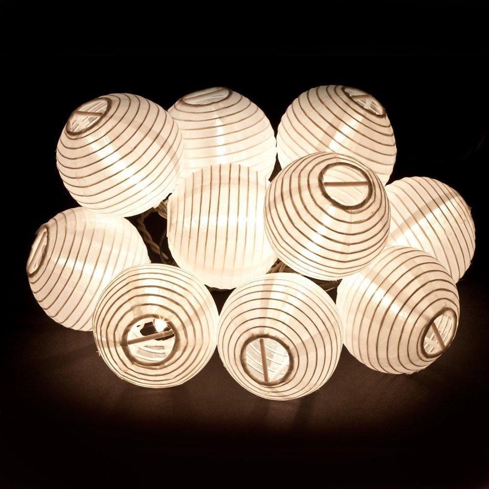 Tuscom 5M 20LED Solar Energy Fabric Lantern Ball Light Strings Fairytale Indoor Outdoor Decorative Light Garden/Garden/Party/Christmas Tree/Wedding/Dorm/Room Decoration (3 Colors) (Cool White)