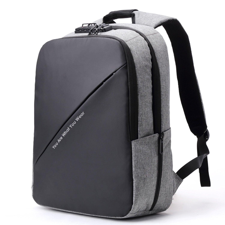 BISON DENIM Slim Business Laptop Backpacks Anti thief Tear/Water Resistant Travel Bag Backpacks fits up to 15 15.6 Inch Computer Laptops Backpack In Grey