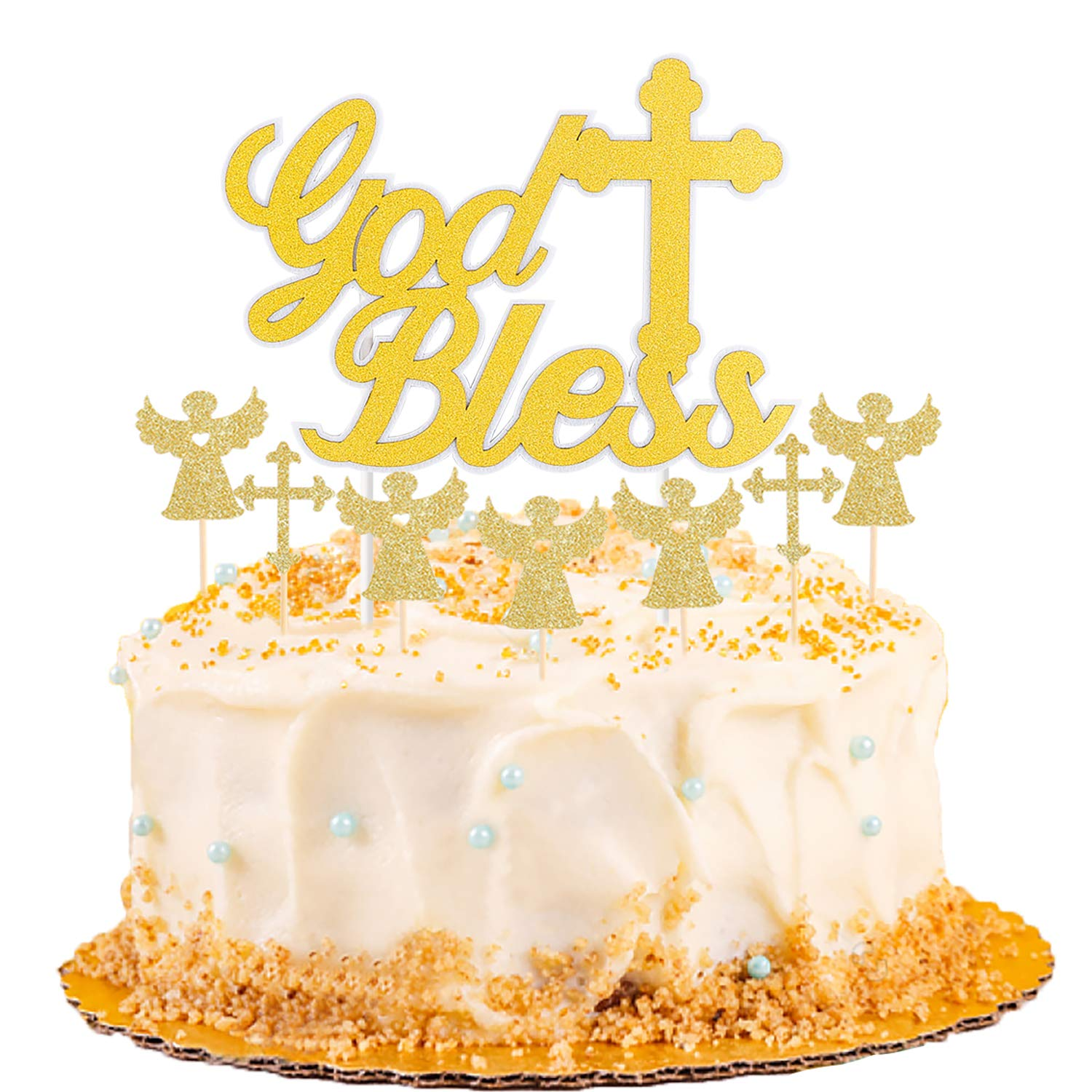 Watinc 13pcs God Bless Baptism Cake Topper Cross And Angel Glitter Cake Toppers For Wedding Cake Banners Of First Communion Baby Shower Christening