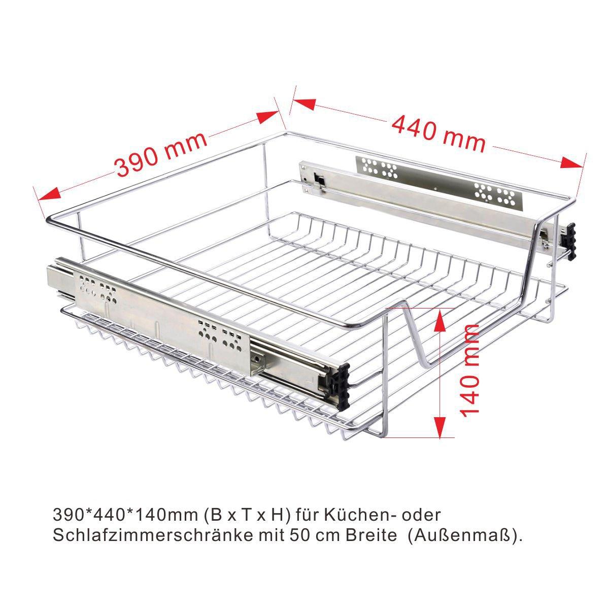 FDS COSTWAY Küchenschublade Teleskopschublade Korbauszug Schrankauszug Schublade Schlafzimmerschublade Küchenregal Silber Größenwahl (40cm)