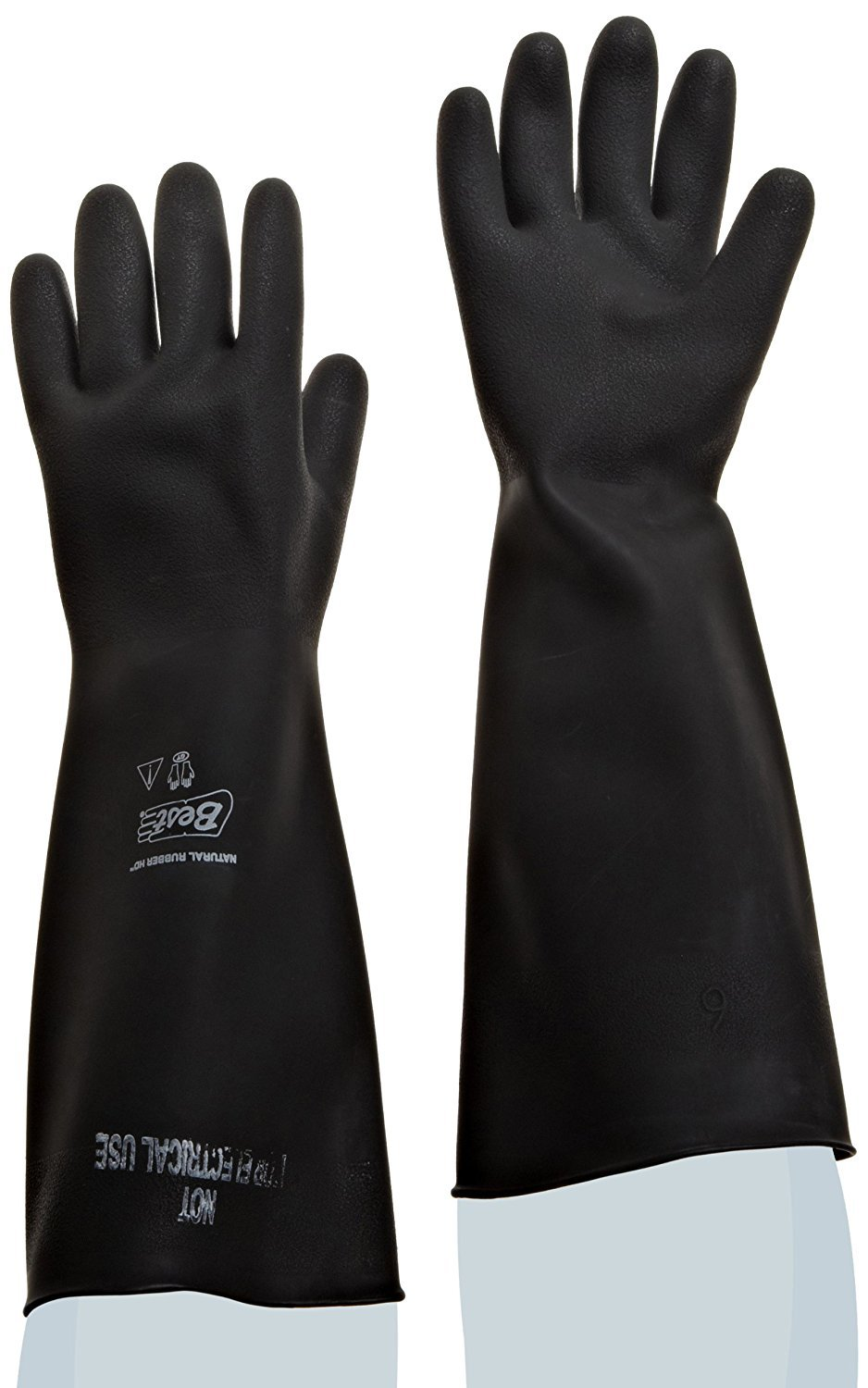 Best Natural Rubber Latex HD Gloves 18 50Mil Unlined Rolled Cuff - Size 9 - 1 Pair - 558-09