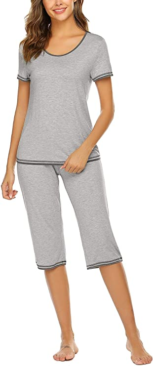 UNibelle Womens Modal Sleepwear Round Neck Long Sleeve with Pants Pajamas Set S-XXL