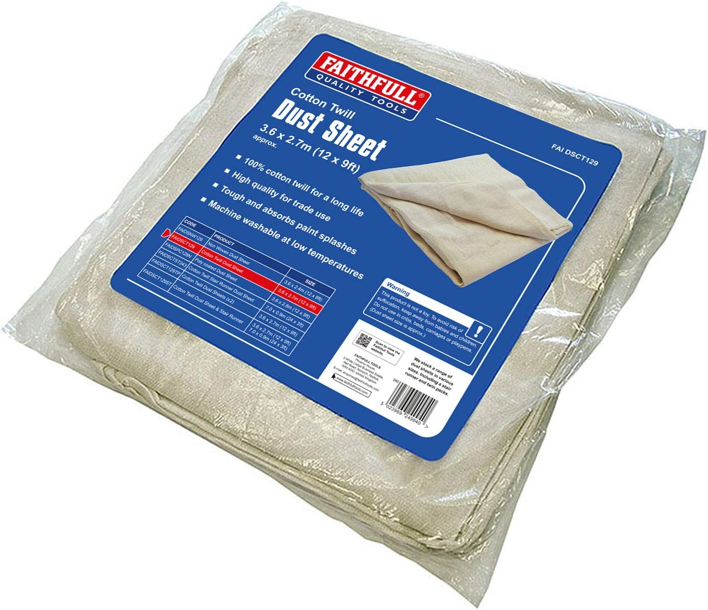 Import Grande Bretagne Faithfull DSCT129 B/âche de protection en coton serg/é