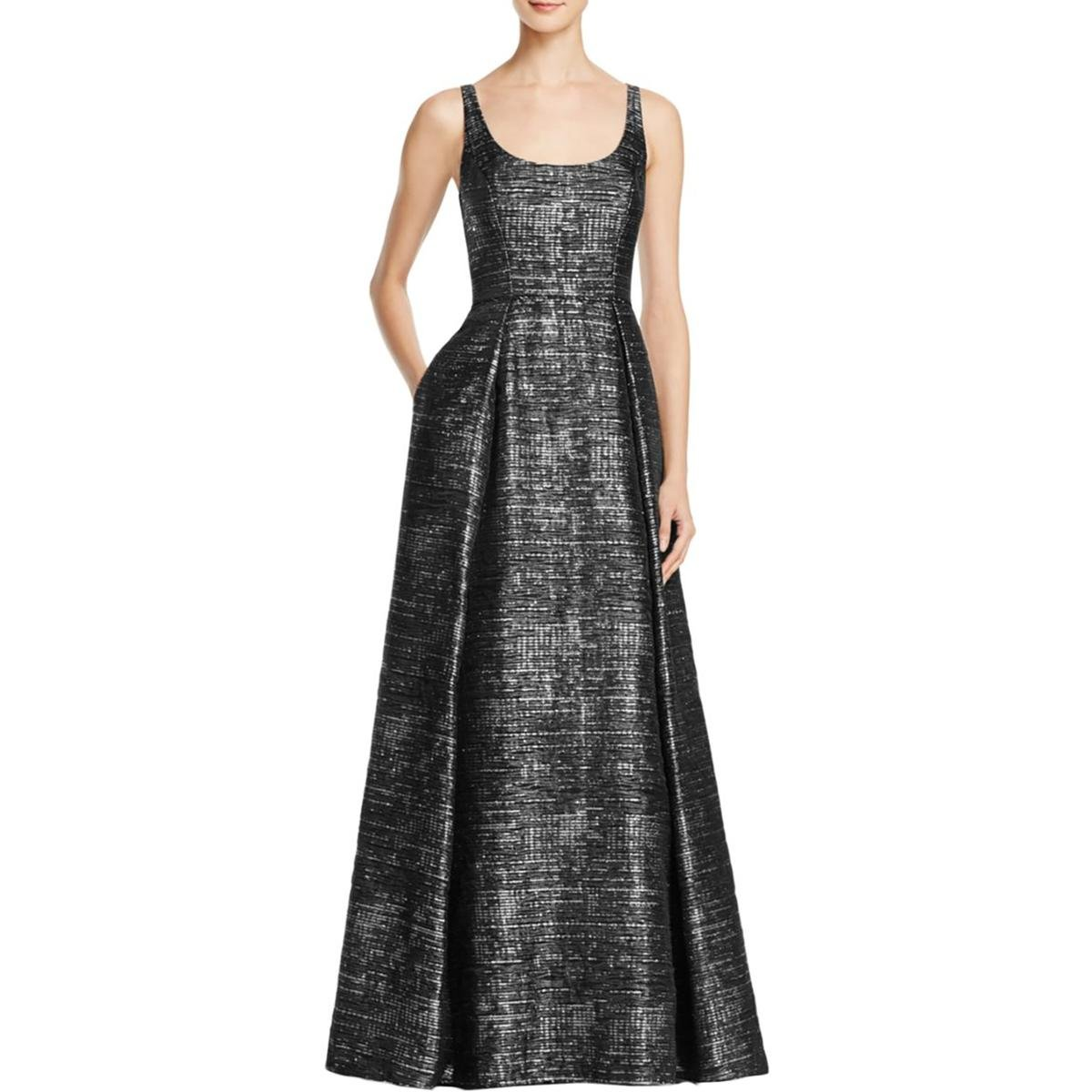 Aidan Mattox Womens Jacquard Metallic Evening Dress Black 10