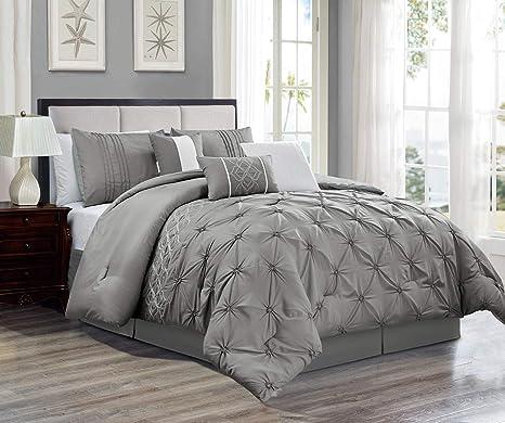 7 Piece Oversize Grey Pinch Pleat Designer Embellished Bedding