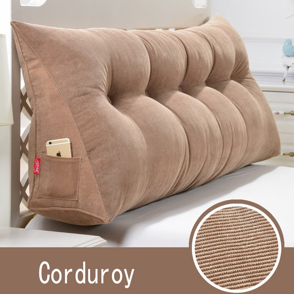 B 1002050cm RFJJAL Triangle Headboard Cushion Single Double Pillow Pillow Reading Bed Office Backrest Removable Corduroy Bedding (color  Coffee, Size  135  20  50cm) (color   B, Size   100  20  50cm)