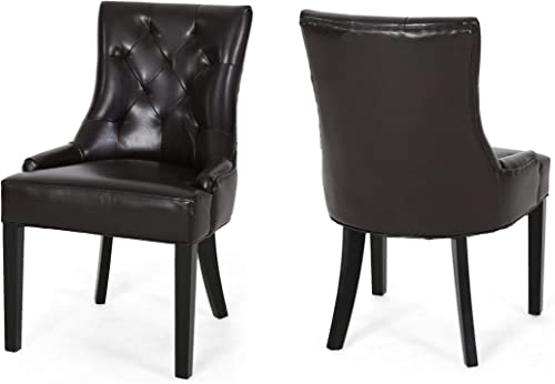 Great Deal Furniture Stacy Leather Dining Accent Chairs Set of 2