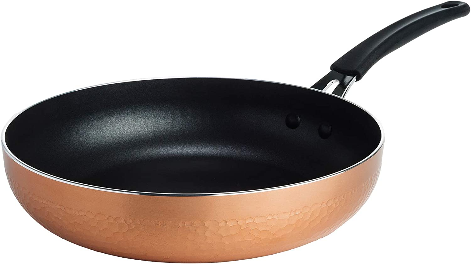 Ecolution Impressions Hammered Non-Stick Frying Pan, Dishwasher Safe, Riveted Stainless Steel Handle, 10 Inch, Copper