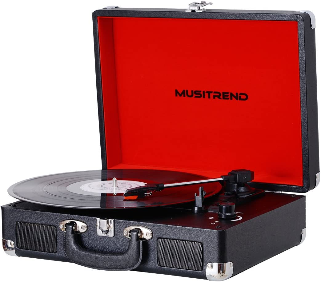 PC Recorder Headphone Jack RCA line Out Black//Red Musitrend Turntable Portable Suitcase Record Player with Built-in Speakers