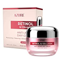 AZURE Retinol & Collagen Anti Aging Day Cream - Moisturizing, Restoring & Smoothing | Reduces Fine Lines & Wrinkles | Evens Skin Tones & Dark Spots | Made in Korea - 50mL