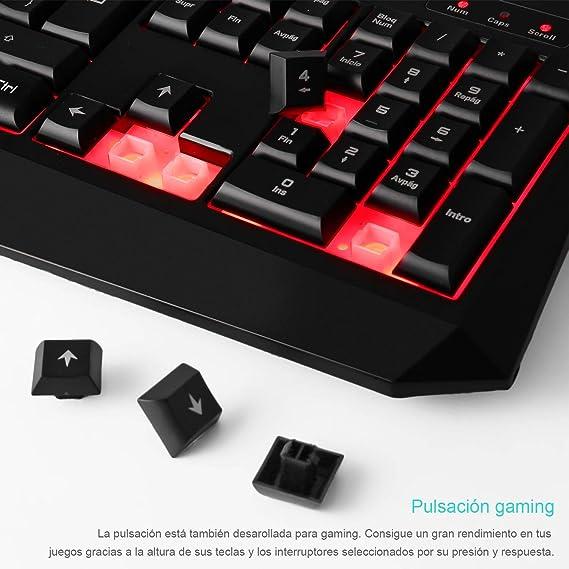 LESHP Teclado Gaming para PC Disposición Española (105 teclas, luz integrada rojo): Amazon.es: Electrónica