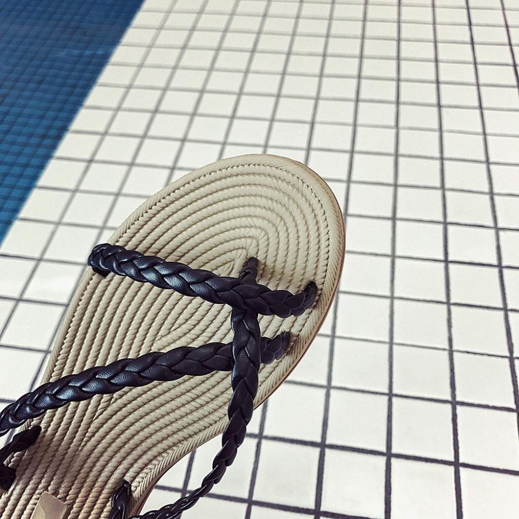 SHY Women Sandals, Flip-Flop Bohemia Summer Bandages Sandal Pumps Slippers Wedge Platform Slippers B07BRPQYPQ US:5.5 (36)|Black