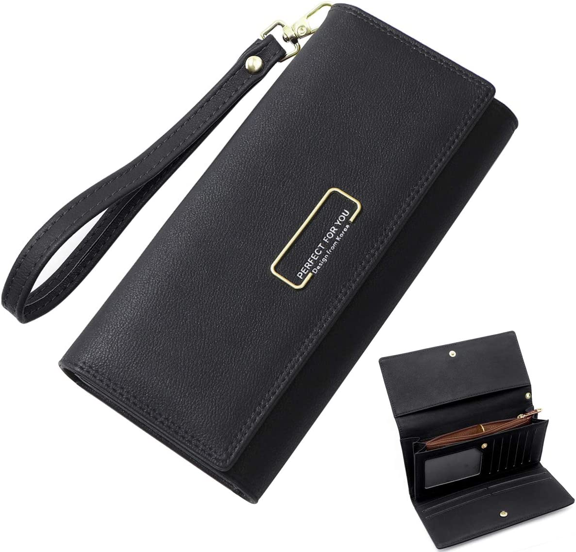 Leather Lady Long Wallets Purses with Zipper Pocket and Wrist Straps Black HNOOM Ladies Purse Large Capacity Womens Wallet with 10 Credit Card Slots