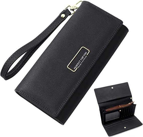 Zipper Coin Pocket and Wrist Strap HNOOM Women PU Leather Purse Large Capacity Women Wallet Long Lady Wallet Purse with10 Credit Card Slots Black