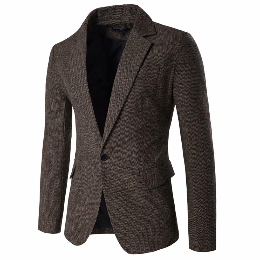 Men's Blazer Jacket Herringbone Sport Coat Smart Formal Dinner Cotton Suits Slim Fit One Button Notch Lapel Coat