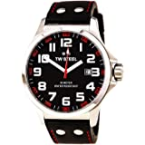 TW Steel Pilot Black and Red Dial Black Leather Mens Watch TW411