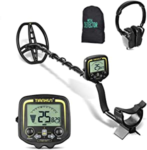 SUNCOO Pro Metal Detector Waterproof 11 inch Coil Gold Detectors High Accuracy for Kids Adults Metal Finder LCD Display Adjustable Treasure Hunting with Carrying Bags & Headphone