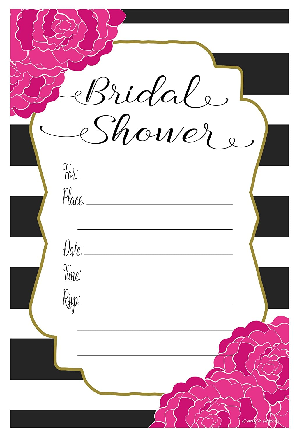 Amazon.com: Pink Floral Bridal Shower Invitations - Fill In Style ...