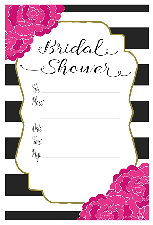 Amazon pink floral bridal shower invitations fill in style pink floral bridal shower invitations fill in style 20 count with envelopes filmwisefo
