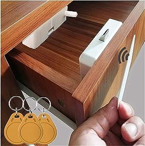 Electronic Cabinet Lock, Hidden DIY RFID Lock Electronic Cabinet Lock ,Invisible Cabinet Lock, RFID Card/Tag Card/Induction Swipe Card to Unlock,for Wooden Cabinet Drawer Locker Cupboard