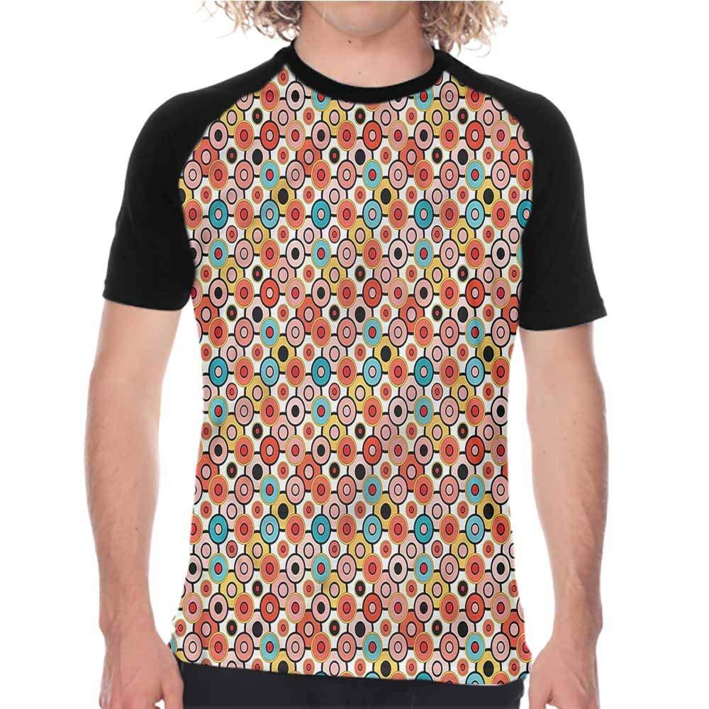 Psychedelic,Crew Neck Short Shirts Retro Evil Eyes,Mens Regular Top Sleeve