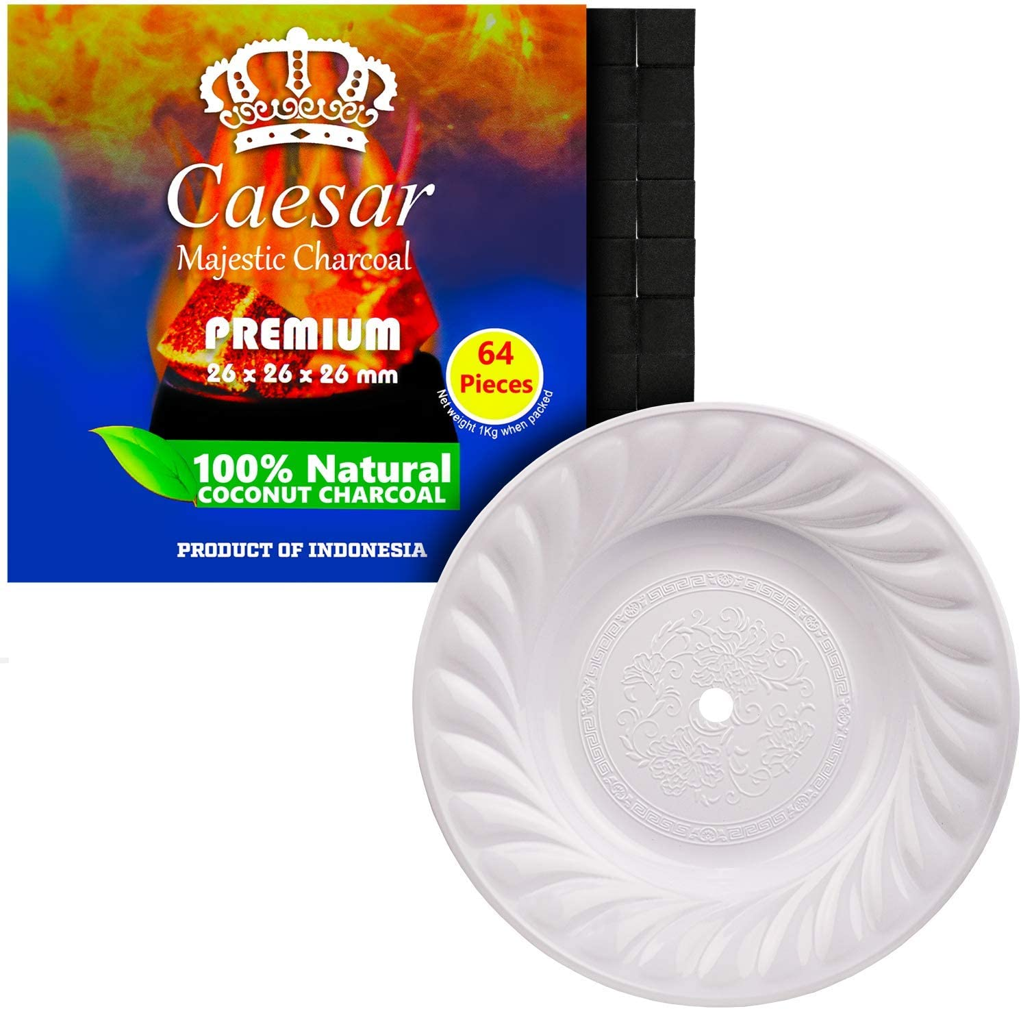 Caesar Shisha Set de carbón de cachimba, 1 kg, 2,6 cm, 64 platos de carbón y hookah, para pipas de agua, cenizas, 39 cm, color blanco