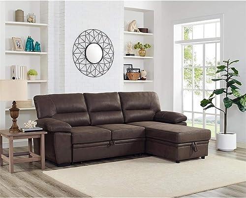 Editors' Choice: Lilola Home Kipling Microfiber Reversible Sleeper Sectional Sofa Saddle Brown