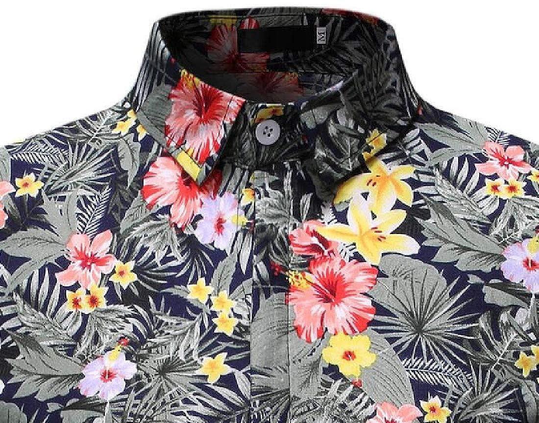 Zantt Mens Beach Casual Button Up Short Sleeve Flower Printed Dress Shirts