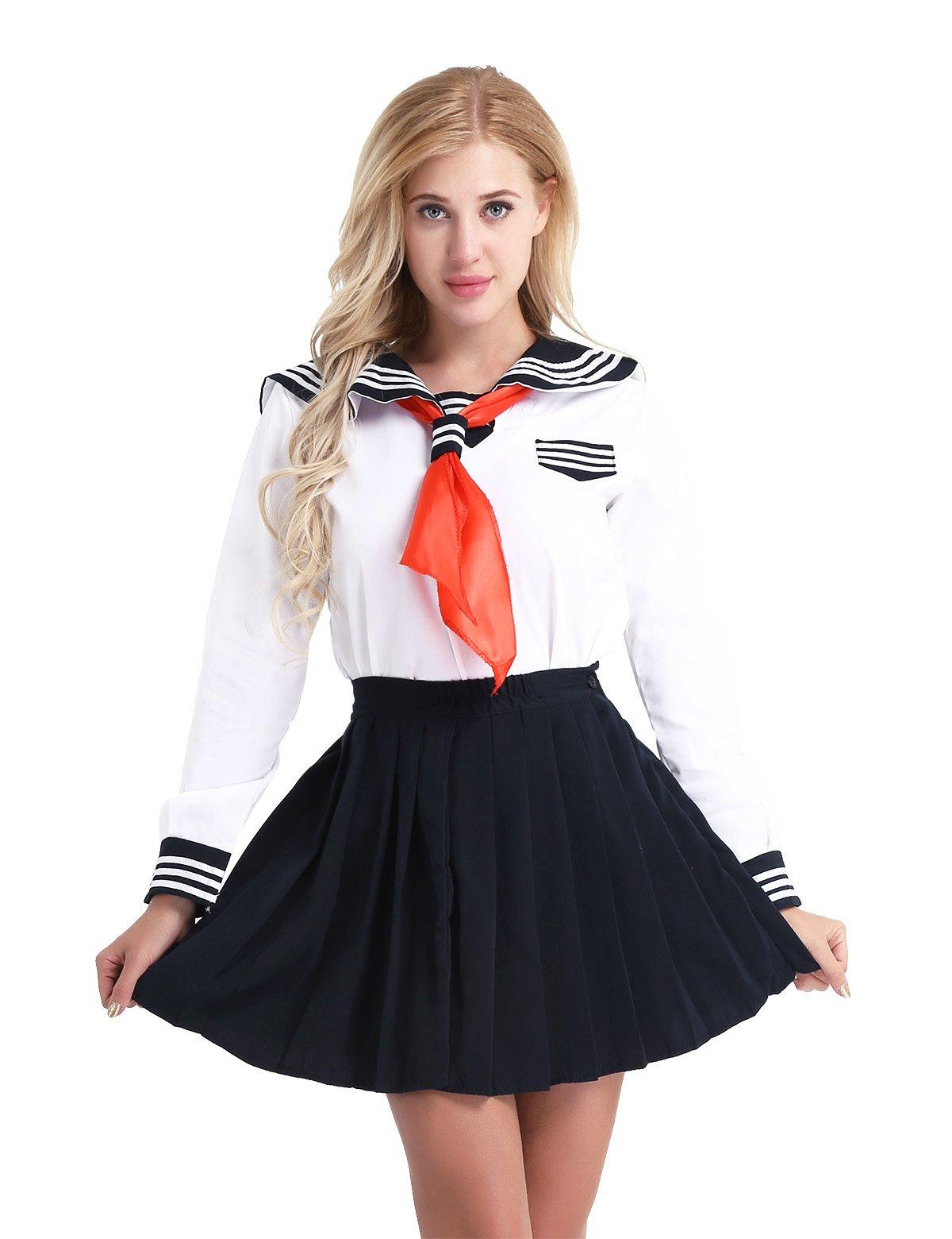 Agoky Womens' 3Pcs Long Sleeve Japanese Anime Cosplay Costume Lolita Sailor School Uniform Dress White XX-Large