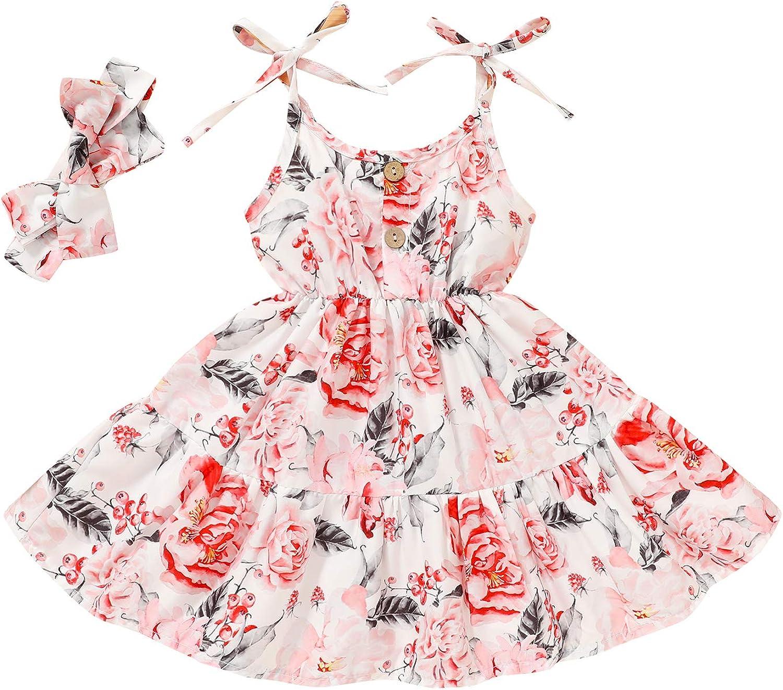 Toddler Infant Kids Baby Girls Sleeveless Straps Bow Button Princess Dress