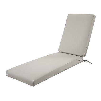 Classic Accessories Ravenna Outdoor Patio Chaise Lounge Cushion Mushroom 72 L X 21 W X 3 T