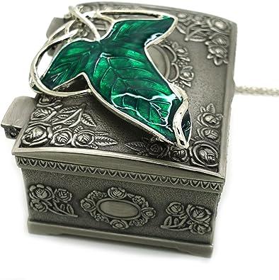 Señor del Collar Broche anillas, Aragorn ficha Elven verde Estuche con un tiempo determinado, joyas, Señor de los anillos-Collar, gran regalo para El Señor de los anillos Clistmas fans de regalo: Amazon.es: