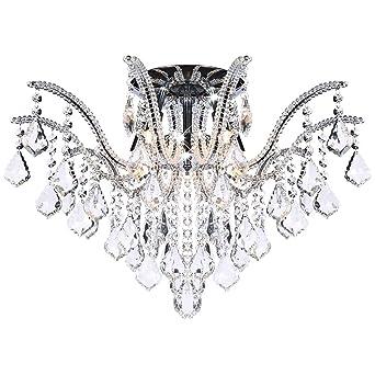 groe glas kristall kronleuchter deckenleuchte mit k9 glaskristallen deckenlampe fr wohnzimmer 60cm 5x g9 - Kronleuchter Deckenleuchte