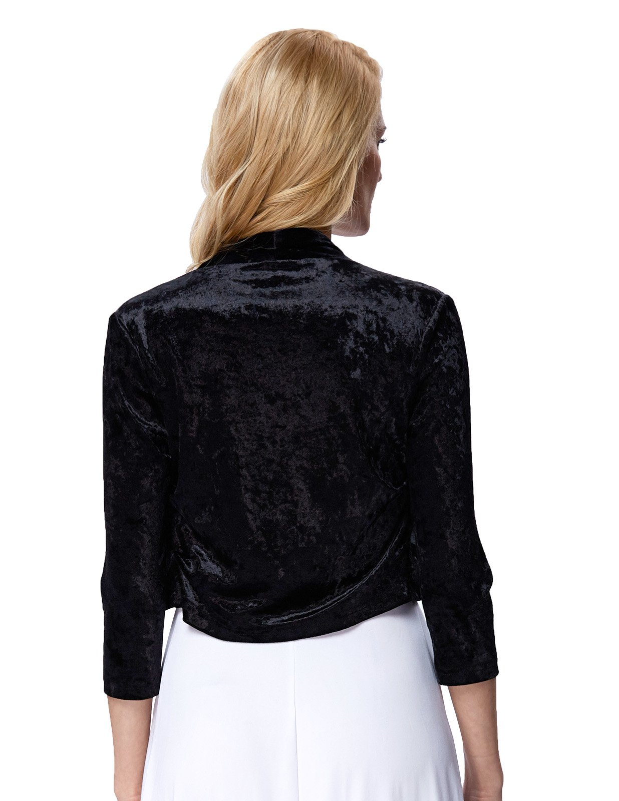 Solid Sleeves Bolero Outerwear Open Front for Teen Girls (L,Black 513-1) by JS Fashion Vintage Dress (Image #2)
