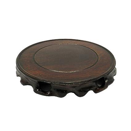 CVHOMEDECO. Rústico antiguo madera maciza Circular soporte de pantalla jarrón maceta base Pedestal pecera. (Dia.18 cm)