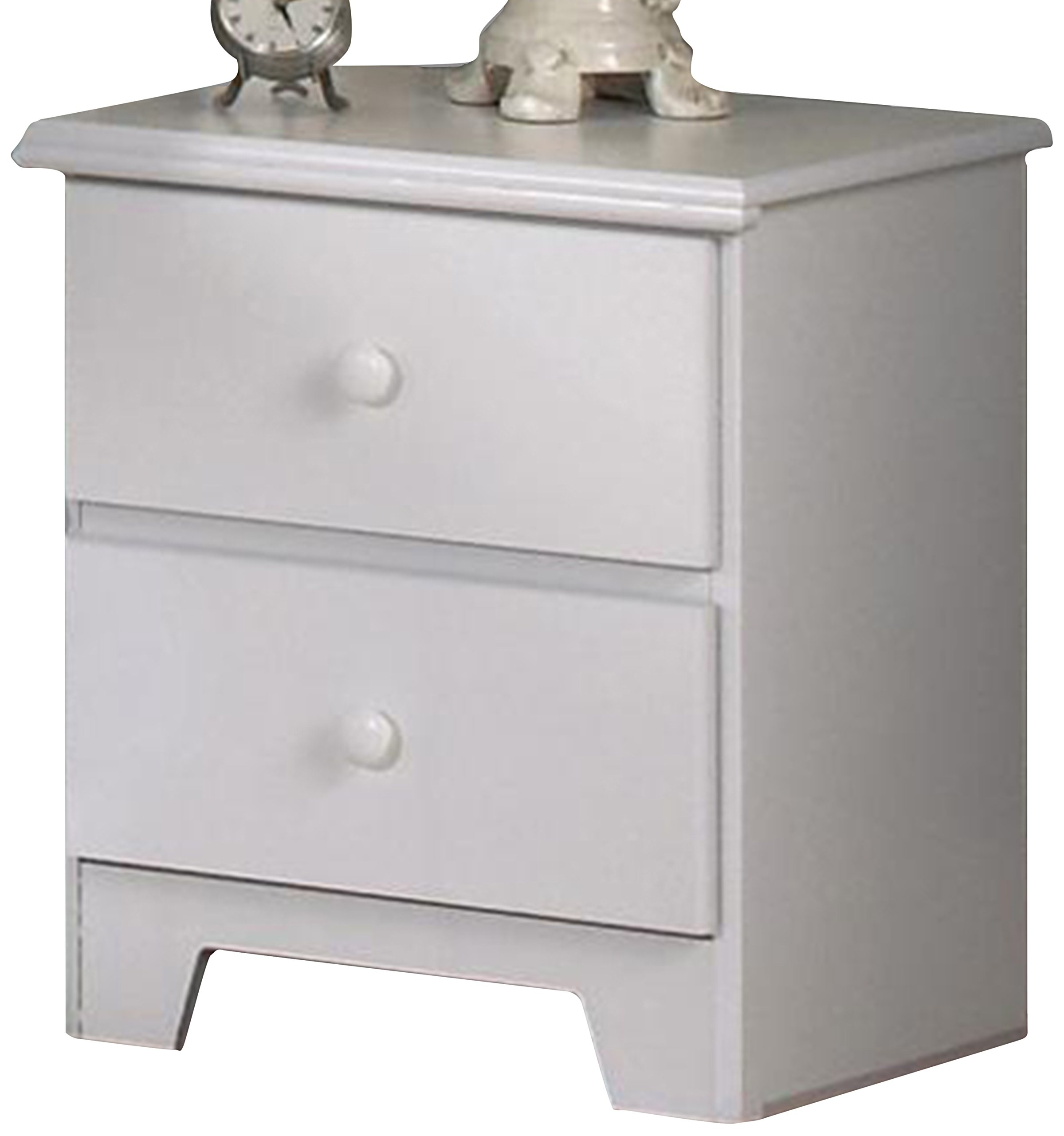Lang Furniture Shaker 2-Drawer Night Stand with Roller Glides, 16 by 20 by 23-Inch, White - Deluxe metal roller glides with safety stops that will ensure continuous support and durability for years to come Fully assembled with no set up required It is made in USA - bedroom-furniture, nightstands, bedroom - 71u33ySd3wL -