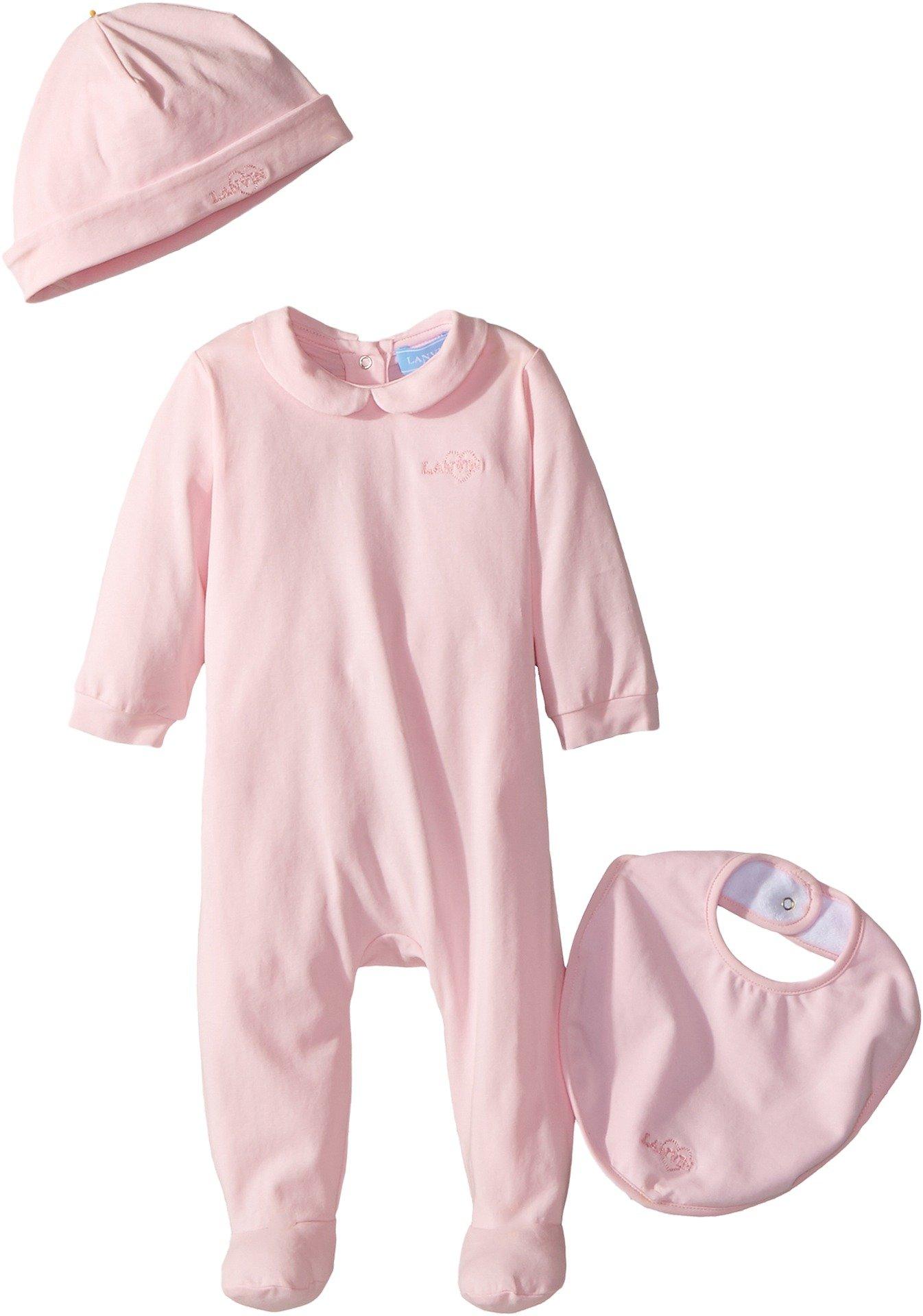 Lanvin Kids Baby Girl's Logo Collar Footie/Hat/Bib Gift Set (Infant) Pink 9