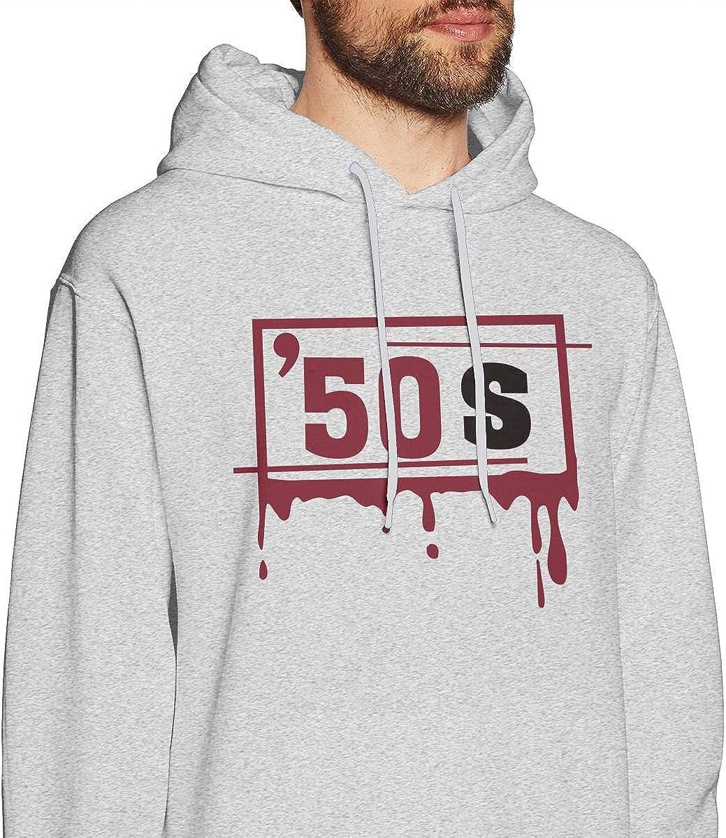 Mens Hooded Sweatshirt European Version of The Loose Hooded Fashion Tide Clothing 50s Logo Gray