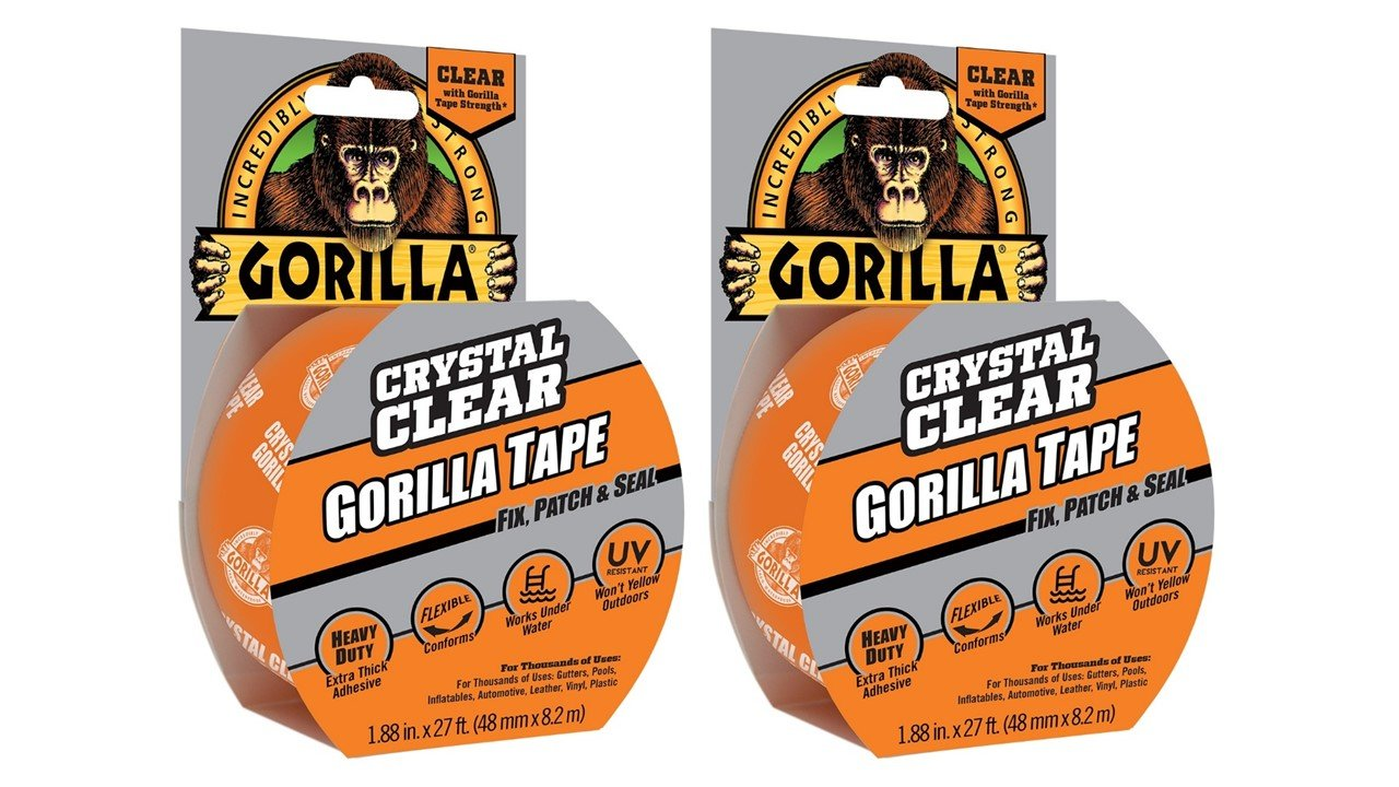 Gorilla 6027016 Tape, Crystal Clear Duct Tape, 1.88'' x 9 yd, Clear, (Pack of 2) by Gorilla
