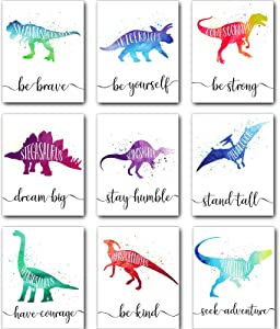 Zonon 9 Pieces Dinosaur Watercolor Poster Dinosaur Pictures Wall Decals Birthday Bathroom Decor Wall Art Prints Motivational Words Inspirational Quotes for Nursery Boys Room Nephew Kids Unframed
