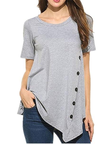 AILIENT Mujeres Sencillas Camisetas Manga Corta Fashion Tshirts Con Botones Suelto Blusas Cuello Redondo Camisas Clasicos Túnica Casuales Color Solido: ...