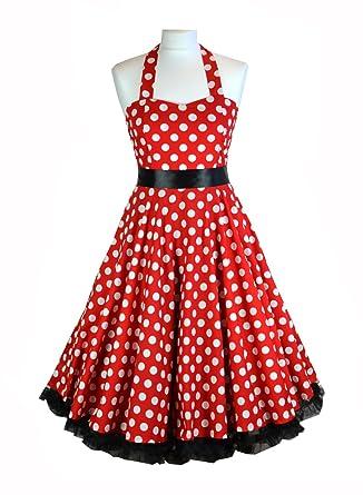 Rote Punkte, Rockabilly, Swing, Abschlussball-Kleid mit Petticoat ...